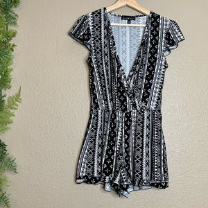 Derek Heart Romper Faux Wrap Crossover Black S